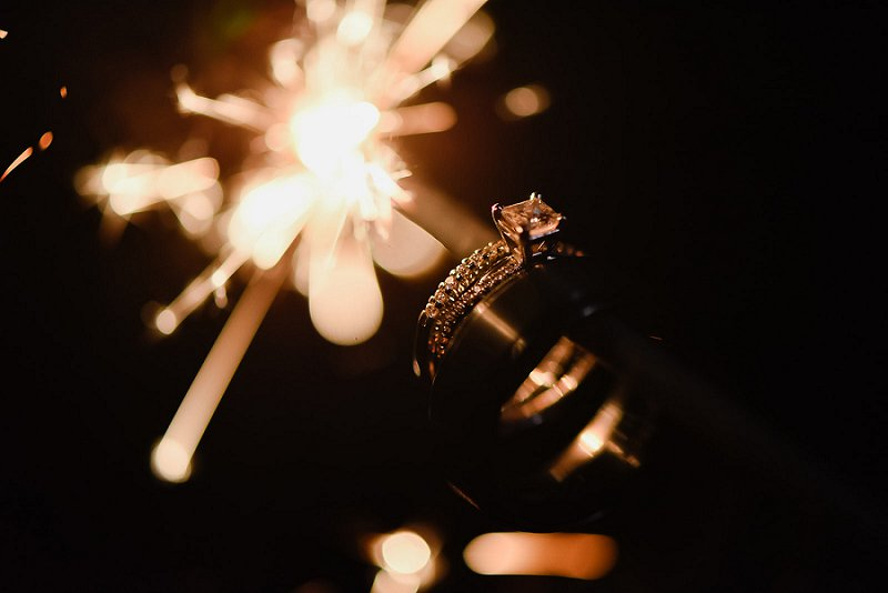 Epic wedding ring photo idea with sparklers