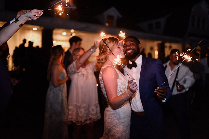 Sweet wedding day exit with sparklers at Womans Club of Portsmouth in Coastal Virginia