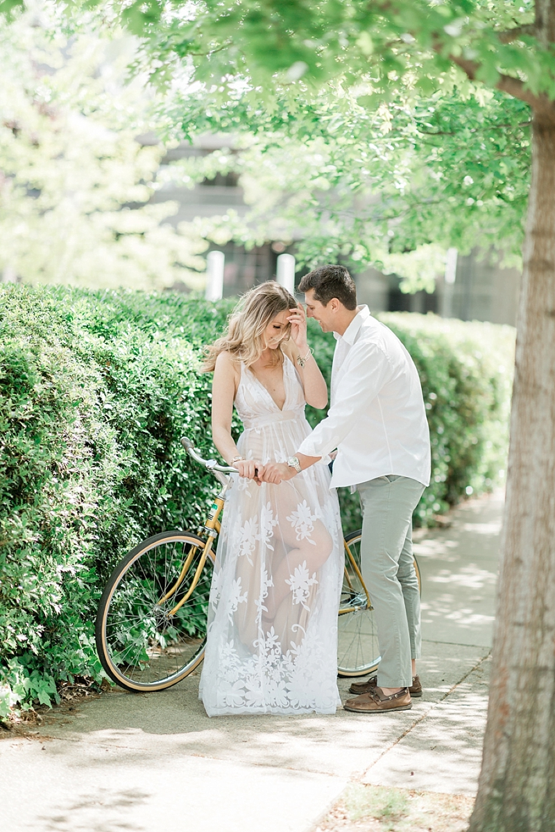 Fine art engagement session with a vintage bicycle in Richmond Virginia