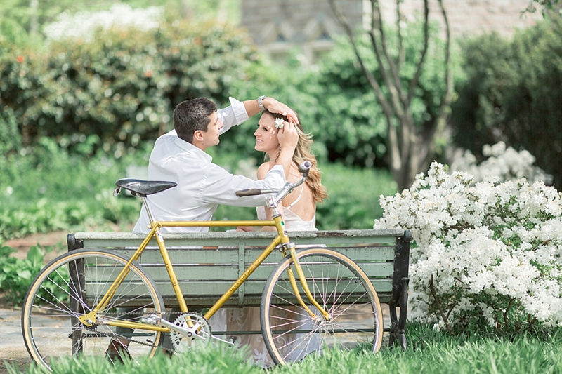 Cute engagement photo ideas with yellow vintage bike