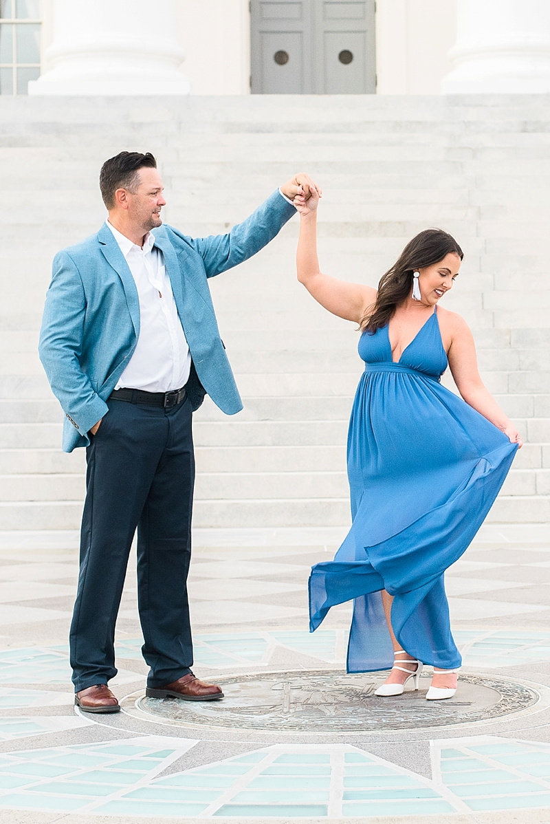 Classic and flowy blue dress and white strappy heels for sexy engagement photos #dresses