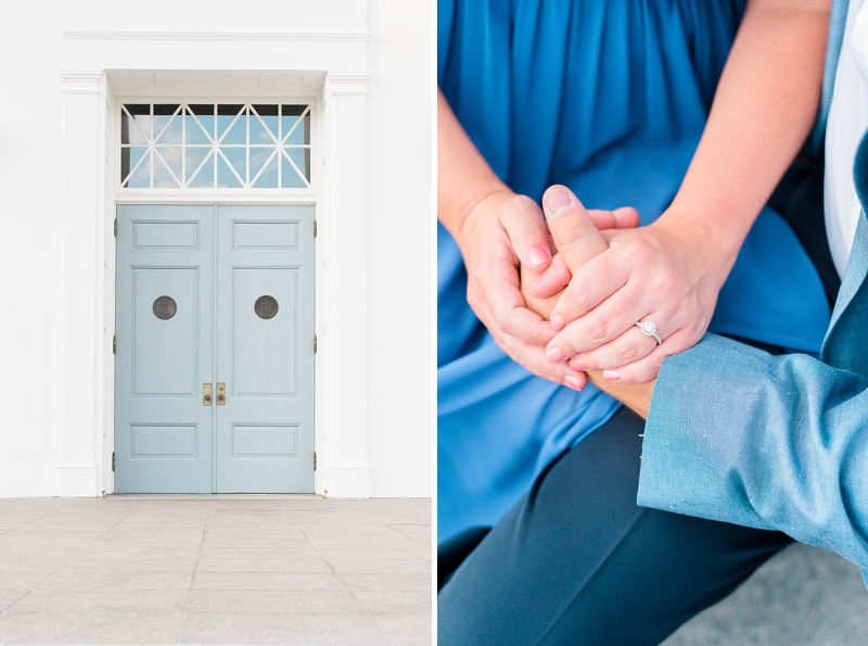 Gorgeous blue inspired engagement photos at the Virginia state capital in Richmond