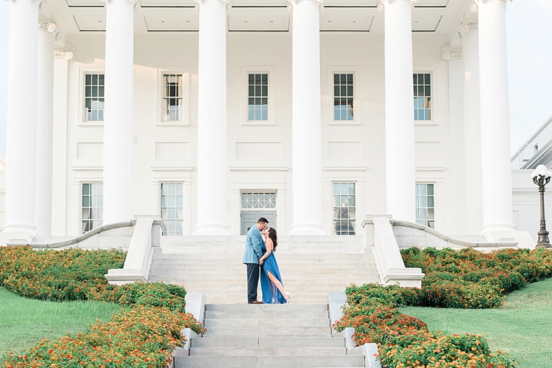 Simple and classic engagement session in Richmond Virginia at state capital