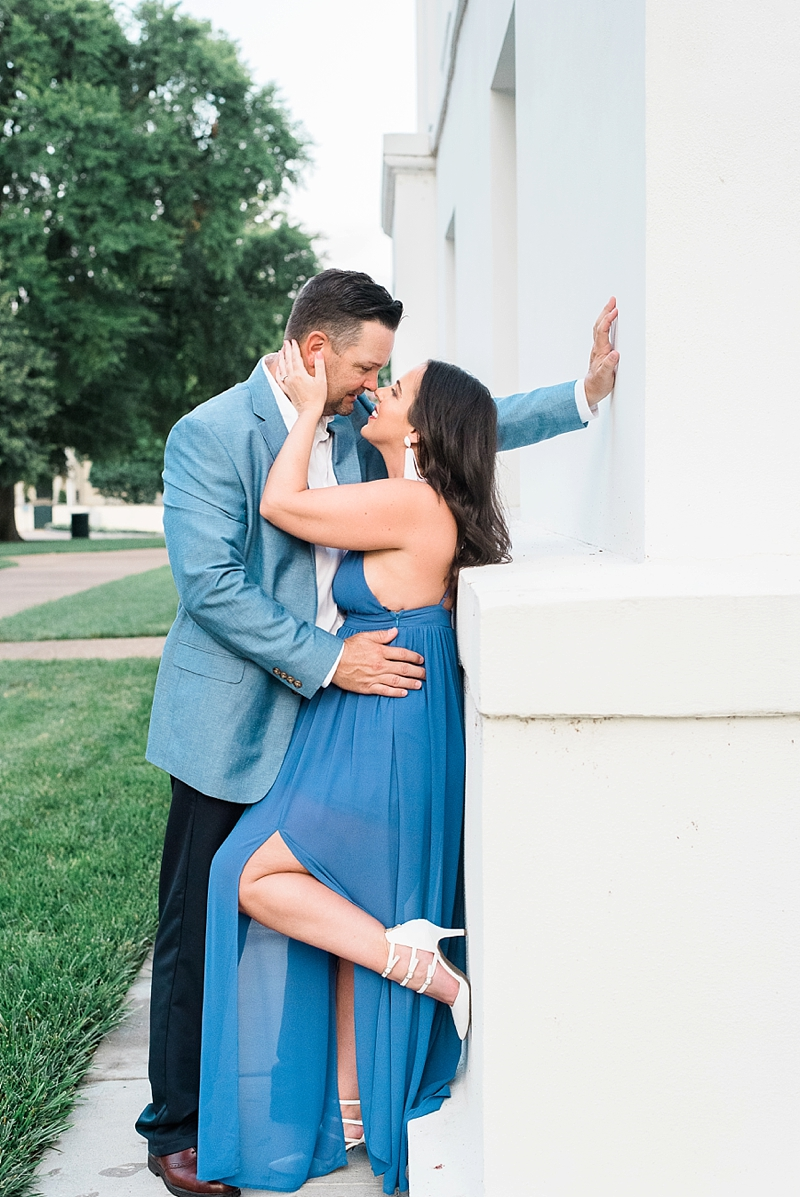 Classic and flowy blue dress and white strappy heels for sexy engagement photos
