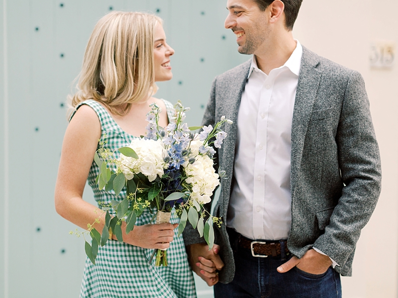 White and blue flowers for a sweet engagement session bouquet in Richmond Virginia