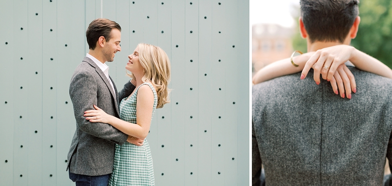 Romantic Richmond Virginia engagement session with mint green doors and park environment
