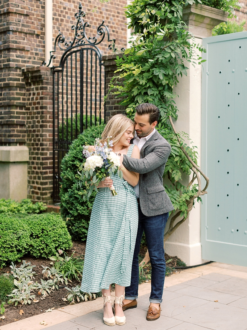 White and green gingham dress for a sweet engagement session in city of Richmond in Virginia