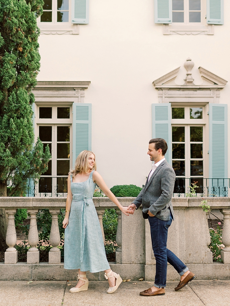 Beautifully sweet engagement session in Richmond Virginia with summer outfit inspiration and petite bouquet of blue and white flowers