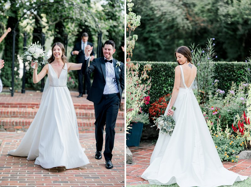 Simple outdoor garden wedding ceremony at Historic Mankin Mansion in Virginia