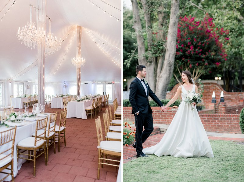 Classic all white tent wedding reception with gold chiavari chairs at Historic Mankin Mansion in Richmond Virginia