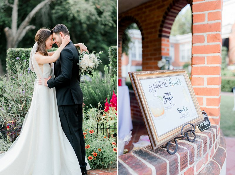 Custom signature cocktail sign for classic wedding at Historic Mankin Mansion in Richmond Virginia