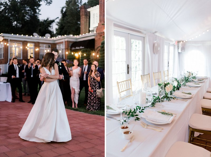 Classic all white tent wedding reception with greenery garland at Historic Mankin Mansion in Richmond Virginia