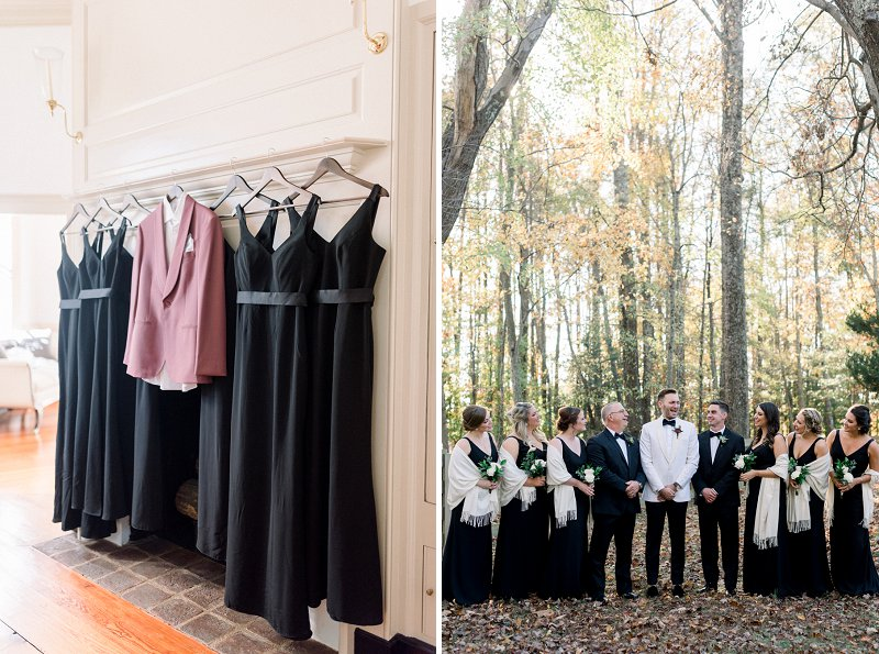 Groomsmaids and groomsmen wearing black dresses and tuxedos for modern rustic fall Virginia wedding