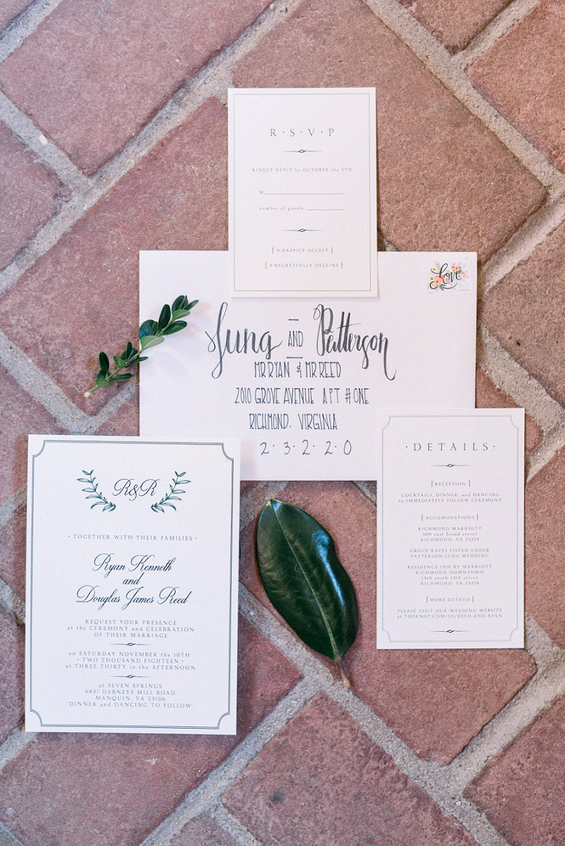 Classic wedding invitation with greenery monogram for timeless gay wedding in Richmond Virginia