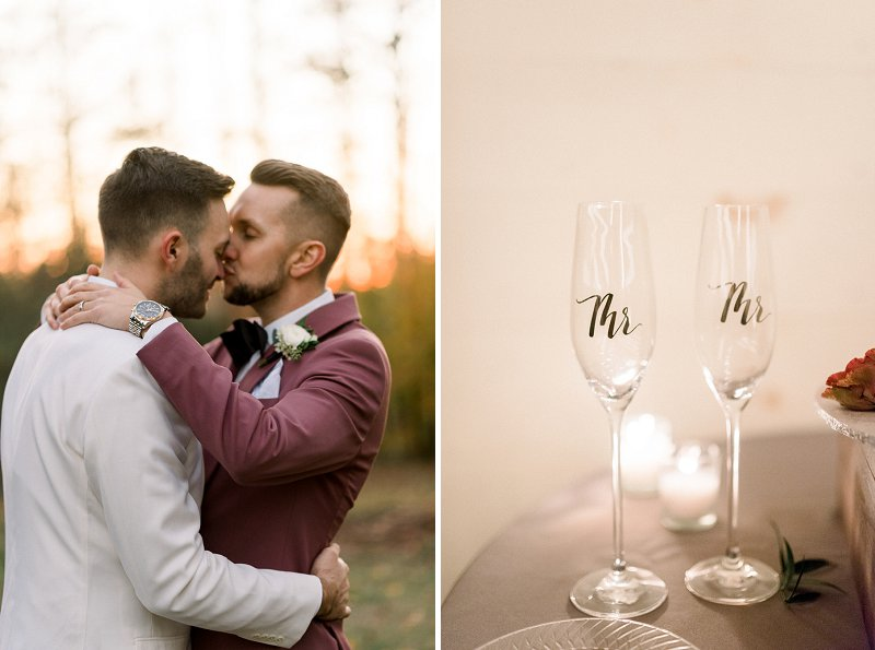 Gold Mr and Mr wedding champagne glasses detail for stylish gay wedding in Virginia