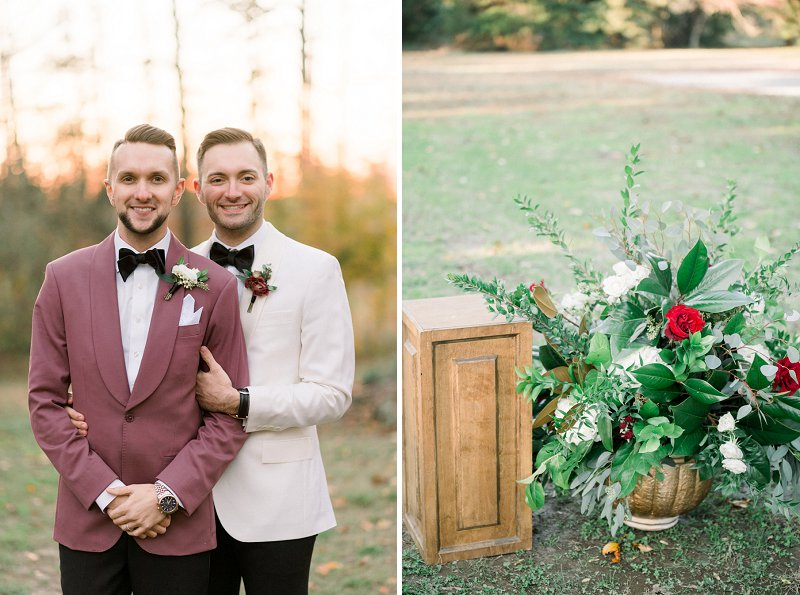 Handsome grooms wearing rose colored tuxedo jacket and white dinner jacket for a classic fall wedding look at Seven Springs Virginia