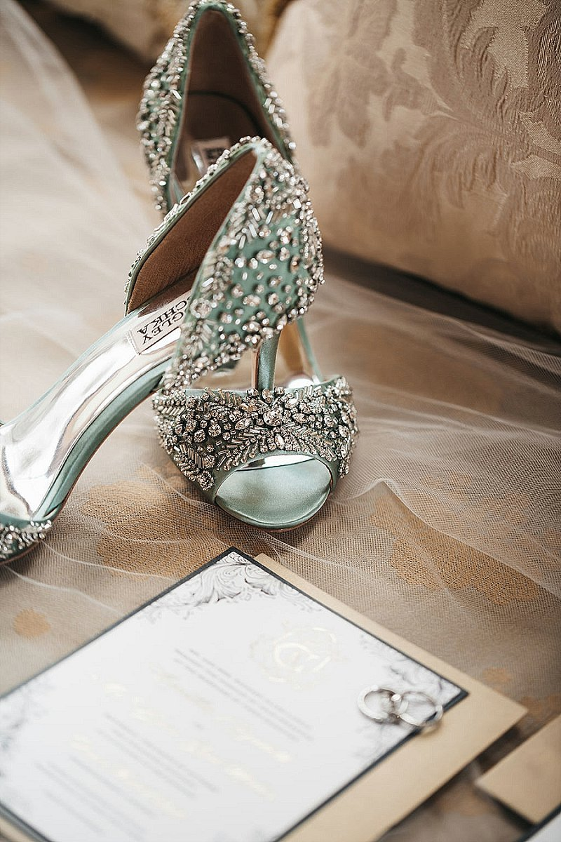 Sage green wedding heels with sparkly crystals for classic bride