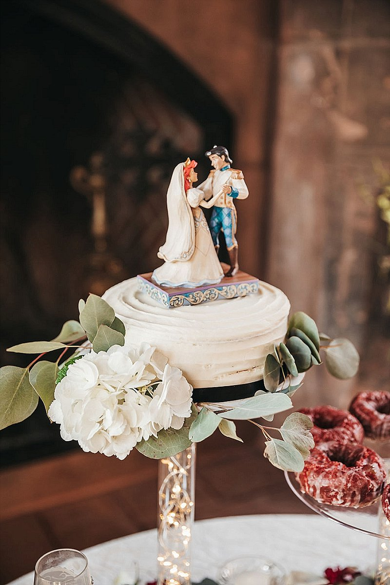 Adorable Disney Little Mermaid with Ariel and Prince Eric wedding cake topper for redhead bride and black haired groom