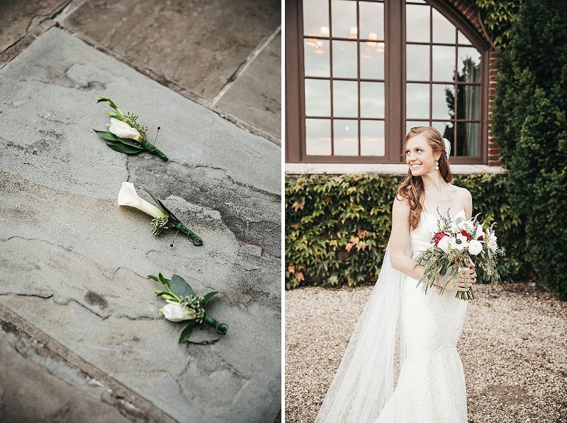 Elegant bride with classic bouquet and lily groom boutonnieres
