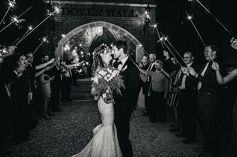 Classic sparkler wedding exit at Dover Hall in Virginia