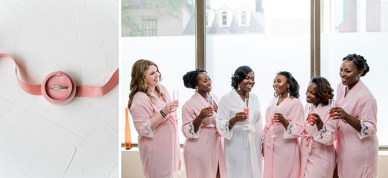 Bridesmaids in pink getting ready robes for classic wedding