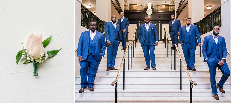 Groomsmen in blue wedding suits for classic ballroom wedding in Richmond Virginia