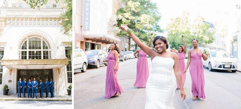 Classic pink purple and blue ballroom wedding in Richmond Virginia