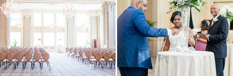 Traditional ballroom wedding ceremony at John Marshall Ballrooms in Richmond Virginia