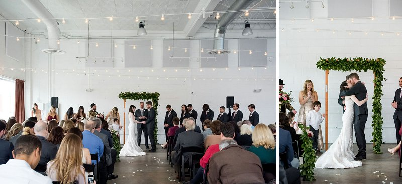 Beautiful industrial wedding ceremony at Studio Two Three in downtown Richmond Virginia