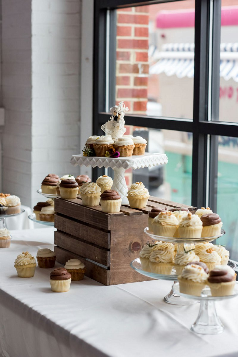 Simple cupcakes for sweet industrial wedding dessert display for wedding at Studio Two Three in downtown Richmond Virginia