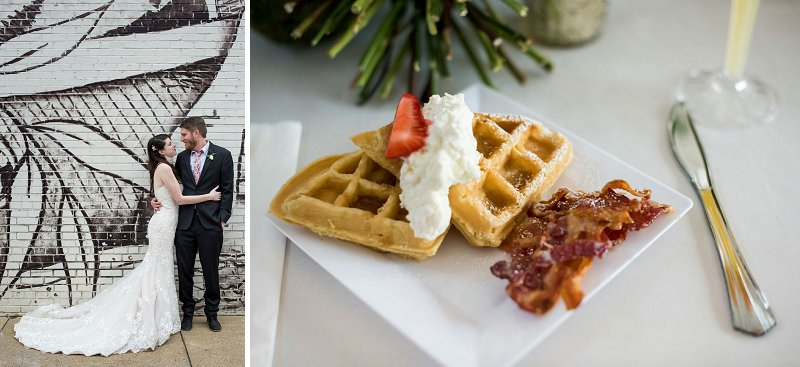 Brunch wedding ideas with waffles and bacon for fun wedding reception menu in Richmond Virginia