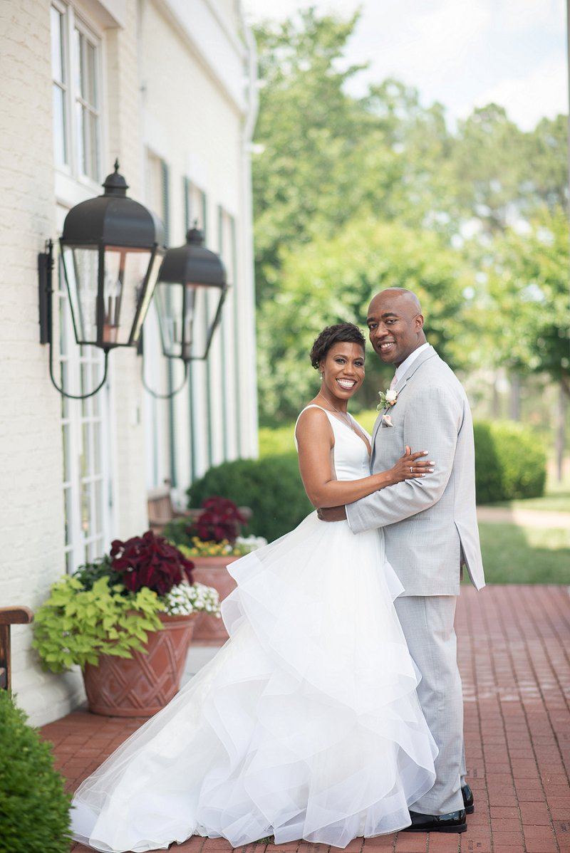Beautiful black bride and groom at their classic wedding in Richmond Virginia