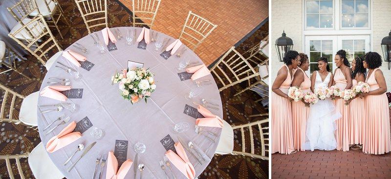 Peach bridesmaid dresses for a classic golf course wedding