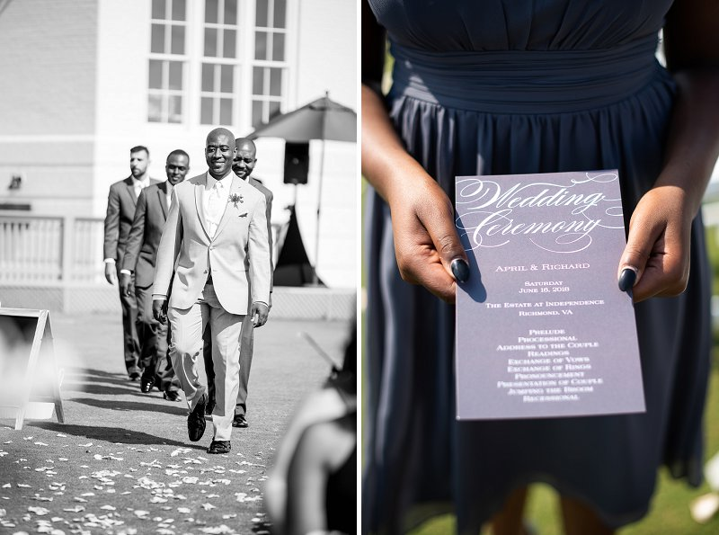 Gray and peach wedding ceremony program for classic golf course wedding