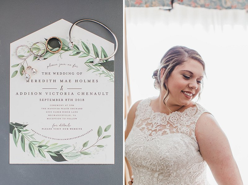 Classic rustic greenery invitation for outdoor Virginia wedding