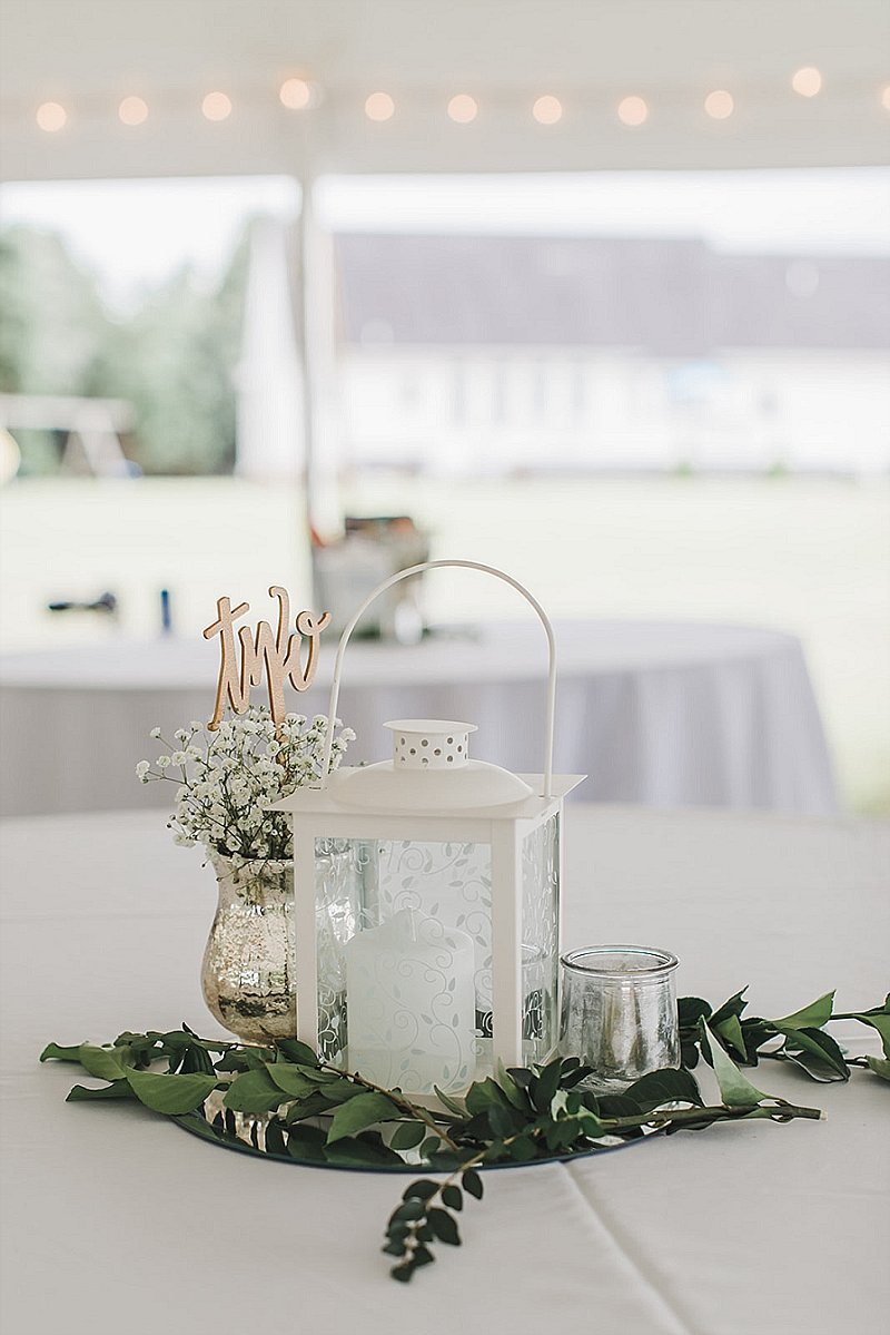 Simple mercury glass with babys breath centerpiece for rustic wedding reception decor