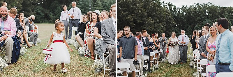 Adorable flower girl at peach orchard fall wedding