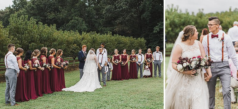 Fall LGBTQ wedding ceremony in front of a peach orchard in Virginia