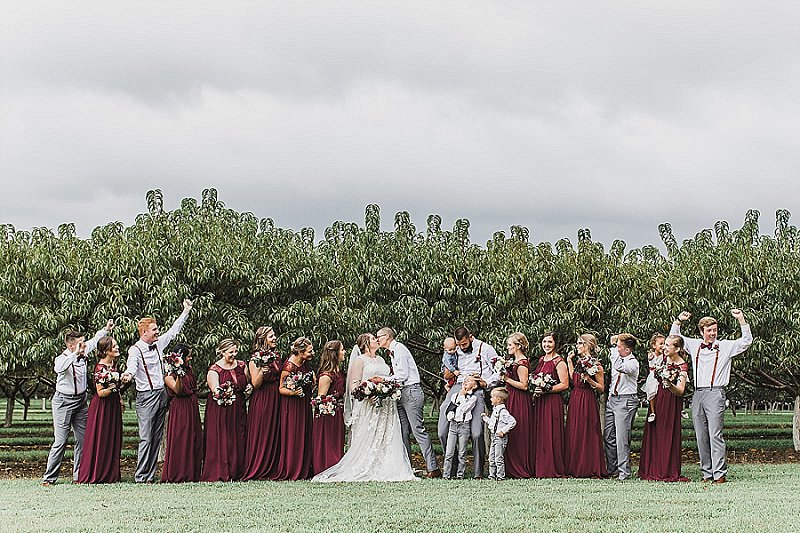 Beautiful burgundy red and gray wedding party attire inspiration for outdoor rustic Virginia wedding