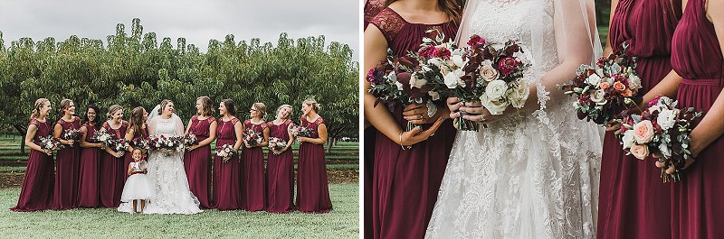 Wine colored bridesmaid dresses for outdoor rustic fall wedding