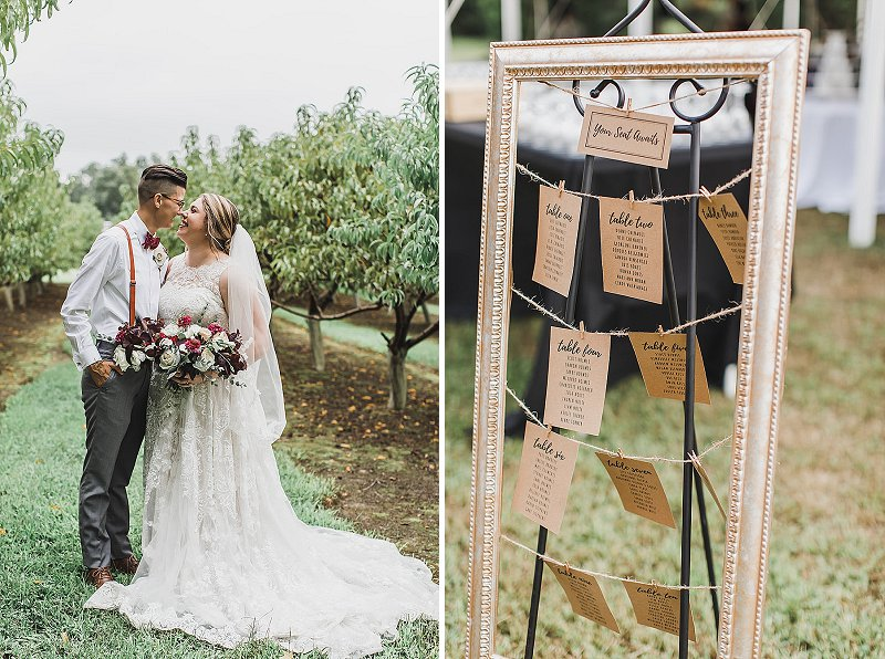 Framed hanging rustic wedding seating chart with twine and clothespins