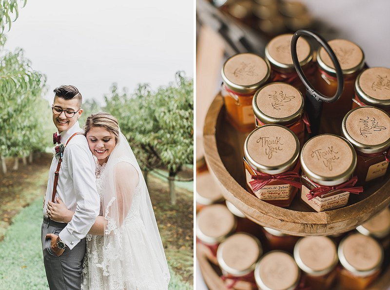 Mini peach jam jars for wedding favors near a peach orchard