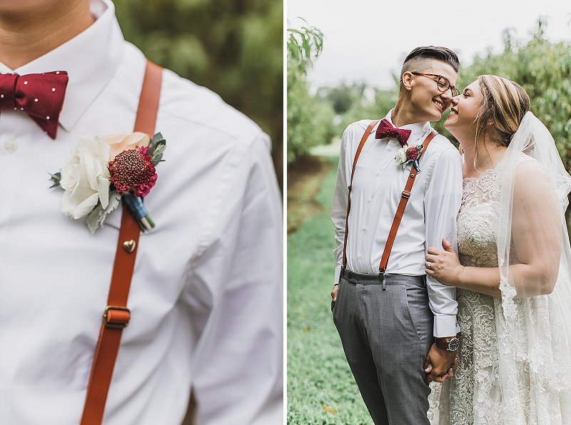 Dapper leather suspenders and rustic boutonniere for chic wedding look