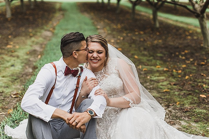 Romantic fall peach orchard LGBTQ wedding in Virginia