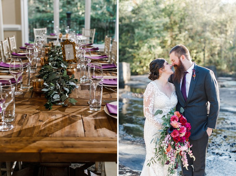 Wooden farm tables with eucalyptus garlands and dark purple napkins for Virginia fall wedding