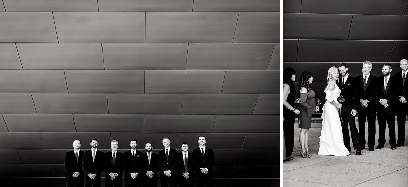 Modern artistic black and white wedding party portraits at Institute for Contemporary Art in Richmond Virginia