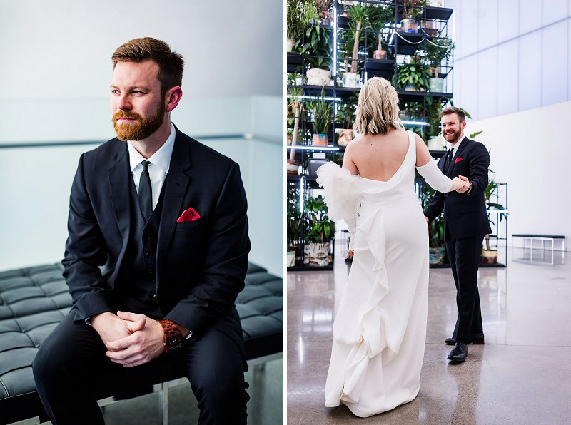 Modern art museum wedding at the Institute for Contemporary Art in Richmond Virginia for uniquely stylish couples