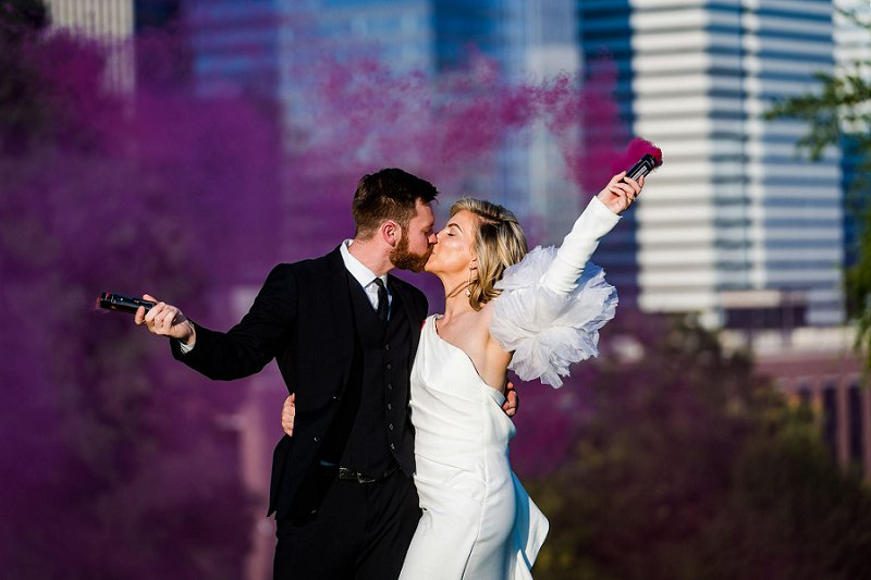 Gorgeously elegant and modern Institute for Contemporary Art museum wedding in Richmond Virginia with purple smoke bomb portraits