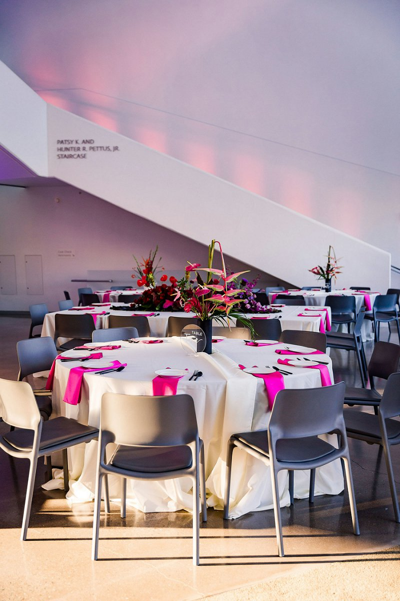 Beautiful modern wedding reception with colorful ikebana inspired floral centerpieces at the Institute for Contemporary Art in Richmond Virginia