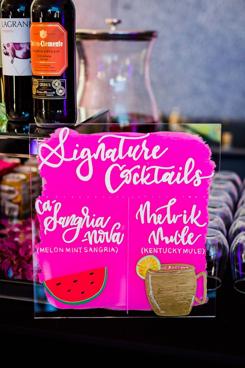 Fun hot pink wedding cocktail sign for artsy modern museum wedding made on clear acrylic